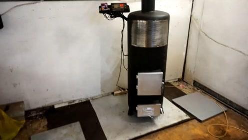 牛人自制简易暖气炉,这都能想出来,真是一项天才发明