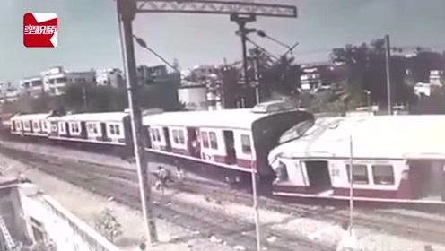 对撞瞬间曝光!印度2列火车高速对撞,乘客惊慌逃命