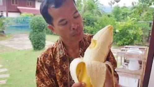 """非洲最罕见的""""巨无霸""""香蕉,一根有6斤多重,一般人只能吃半根"""