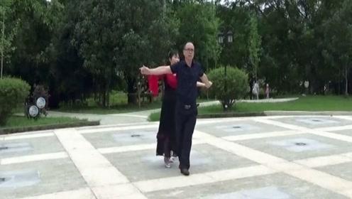 丽莉男女双人慢三交谊舞《我是一片云》男士花样挺多,跳的真好