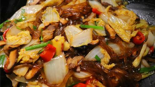 白菜炖粉条最好吃的做法,开胃下饭还营养,我家隔三差五就做