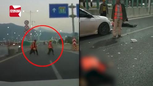 广东建筑工人横穿马路被撞飞,监控拍下惊险一幕