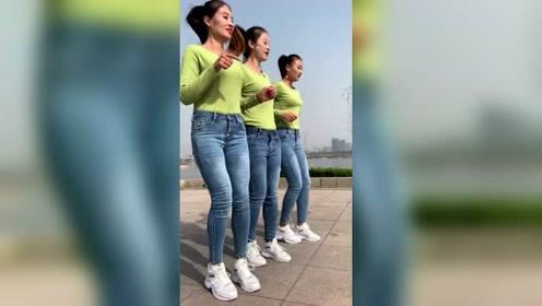 三姐妹跳广场舞就是嗨,这节奏根本停不下来