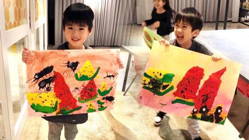 林志颖展示双胞胎儿子绘画天赋,巨型蚂蚁啃西瓜充满童趣