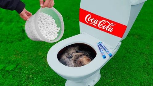 可乐和曼妥思倒进马桶中,会发生什么?结果画面不忍直视!