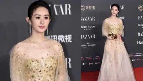 赵丽颖薄纱裙现身,与冯绍峰前女友比美,谁扛住了无修图?