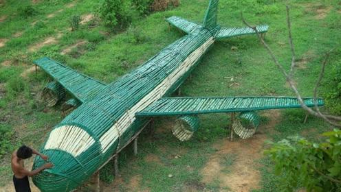 小哥的脑洞还真是大,房子车子都有了,这次给自己制造了一架飞机