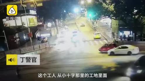 工人扛8米钢管过马路,外卖哥撞破头