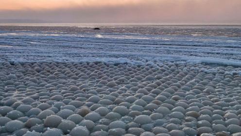 """芬兰海滩罕见出现上万颗""""冰蛋"""",网友笑称:这蛋没母鸡来孵化"""