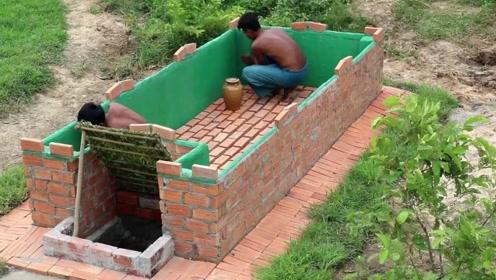 农村哥俩用原始技能,造露天泳池,连砖块都是自己做的!