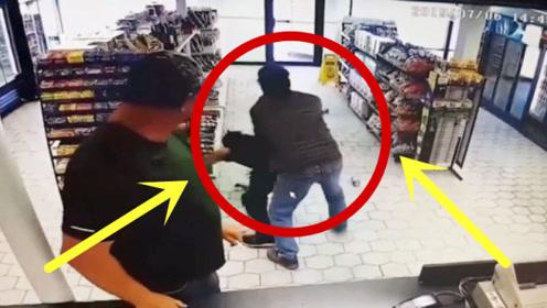 """超市男子抢东西,却被店员""""铁砂掌""""拍懵,五秒后犹如丧家之犬!"""