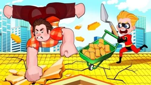 游戏里的巨人,突变真人疯狂砸屋顶,男孩机智应对战胜!