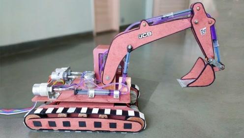 玩具挖掘机的制作,效果还不错!