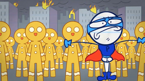 姜饼人到处做坏事,铅笔人化身超人,几口就把他们吃得干干净净!