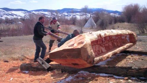 一棵大树凿出独木舟,人类最早的水域交通工具,学会了我也做一个