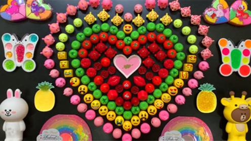 创意史莱姆教程,超多爱心水晶泥、玫瑰花彩泥、笑脸小饰品、彩泥