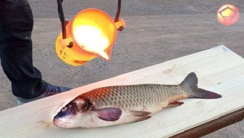 老外将熔岩倒在鱼上,火势熄灭的瞬间,馋得我直流口水