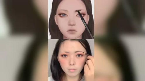 普通人跟着动漫学化妆,会变成啥样?蛇精脸VS萌妹子:直男的最爱
