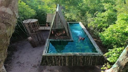 原始技术,野外用竹子搭建空中豪宅,配有标准的空中游泳池