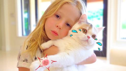 女孩收养小猫,爸爸却对小猫过敏,能够让女孩开心只好忍一下了!