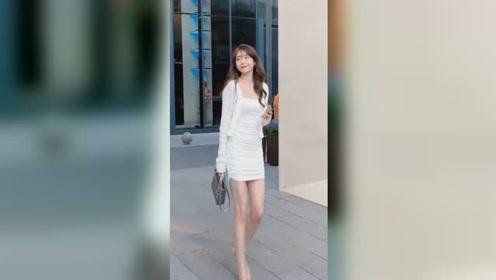 这双腿真是绝了,白衣气质小仙女下凡了