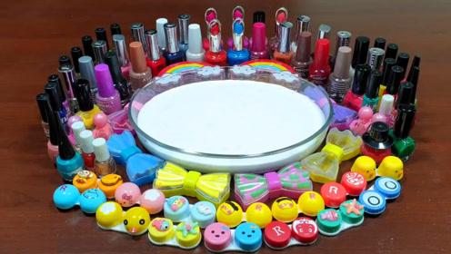 创意无硼砂史莱姆教程,口红指甲油+化妆粉+牛奶史莱姆+笑脸彩泥