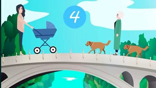 脑力测试:推着婴儿车的母亲和牵着狗狗的老人,谁先过河?