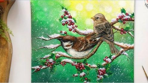 趣味艺术画:画可爱小鸟在枝头