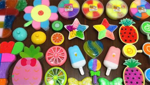 DIY史莱姆教程,五角星小饰品混合花朵彩虹泥、雪糕泥、水果泥