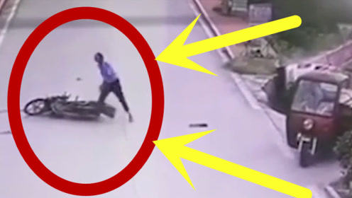 惊掉大牙!男子撞车后一看情况不妙,顺势一倒躺在地上!