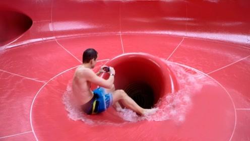 """小伙刺激挑战""""太空碗"""",滑下去要崩溃,到底还想再玩"""