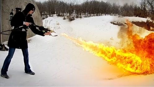 喷火器能快速清除积雪吗?老外亲自测试,这脑洞也太大了吧