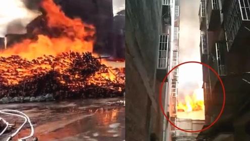 广东一木材厂突发火灾!实拍:火势蔓延至3栋居民楼 现场有油罐