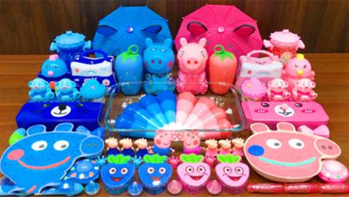 裱花袋彩泥+水果彩泥,蓝色粉色双色系史莱姆教程,超治愈解压呢