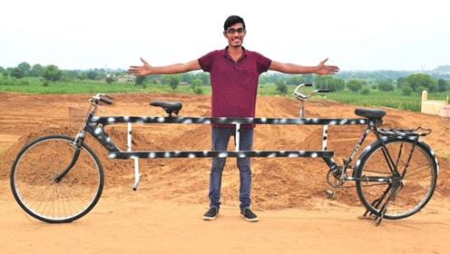 小伙自制双人骑行自行车,长度达3米多,你想体验一下吗?