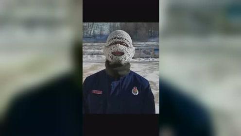 """心疼!消防战士零下30度坚持抗寒训练:冻出""""冰雪妆"""""""