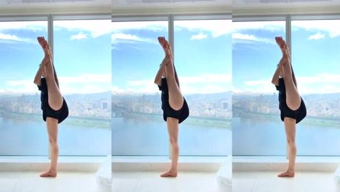 腿长1米8的瑜伽女神,这逆天的大长腿,我服!