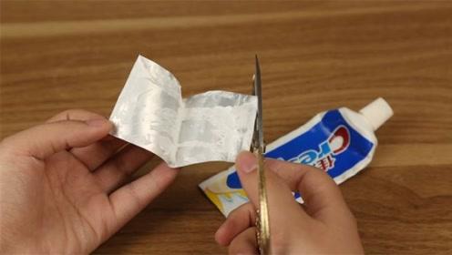 """空牙膏皮是个""""宝"""",剪一刀放在厨房里,一年能省不少钱,涨知识"""