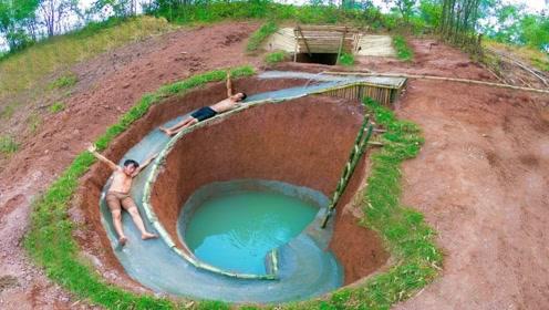 兄弟俩回农村,徒手建造豪华露天泳池,赶紧去见识一下!
