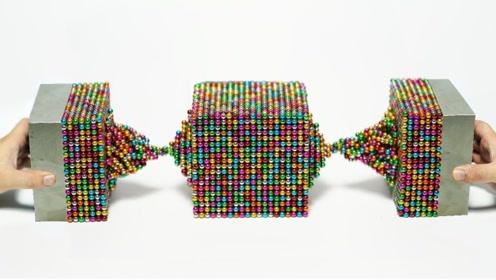 1000个巴克球遇上两块钕磁铁,会发生什么?下一秒太壮观了!