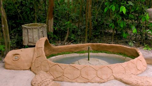 农村男子酷爱养龟,亲手打造龟形泳池,难得一见的豪华