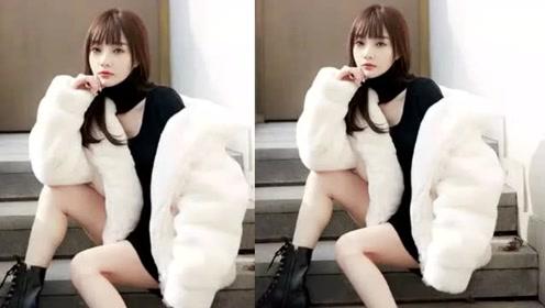 李小璐为店拍写真太卖力,为博销量不惧寒冬光腿出镜,坐室外秀性感