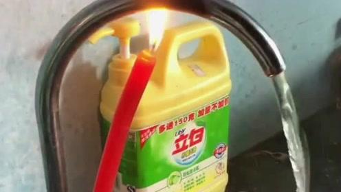 以后太阳能没有热水了,就用蜡烛的火焰加热,出来的水一定不会在是凉的!