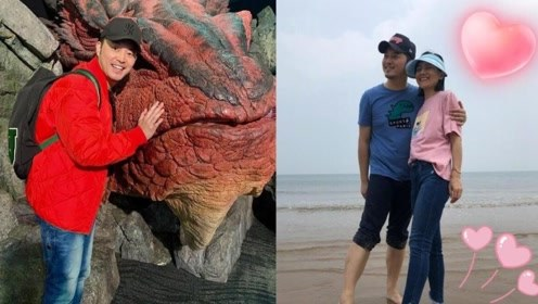 标准游客照!沙溢与红龙雕像同框咧嘴笑不停