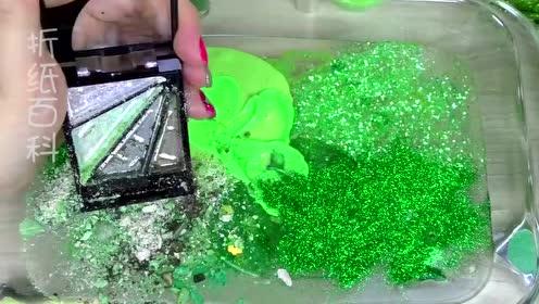 用绿色化妆品、闪粉亮片给透泰染色,无硼砂,得到超漂亮的泥巴
