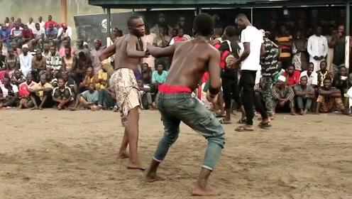 非洲民间一项极其凶残的搏击比赛,只能左手出拳,上来就是一阵狂怼