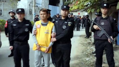 特警持枪 嫌犯配手铐脚镣!现场:广西公安武装押解十人指认现场