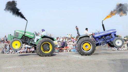 """印度村民举办拖拉机拔河比赛,一声令下,画面开始变""""硬核""""起来"""