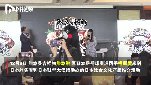 """萌度爆表!熊本熊遇到福原爱,熊抱模仿还会喊""""飒"""",太会了"""