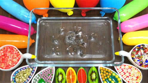DIY史莱姆教程,彩虹崎岖混合水果泥、珍珠泥、亮粉泥